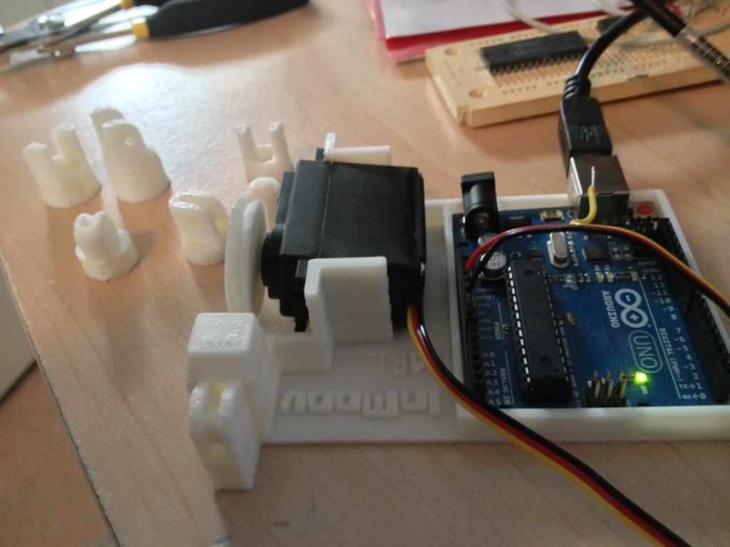 The Arduino and servo motor in place