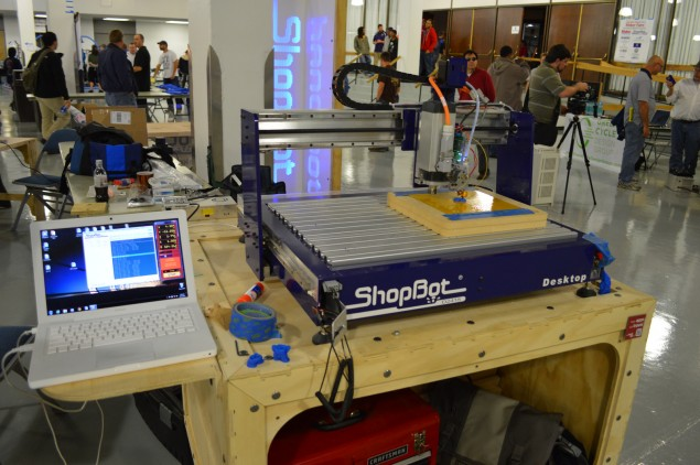 A ShopBot CNC with the 3D printer head attachment.