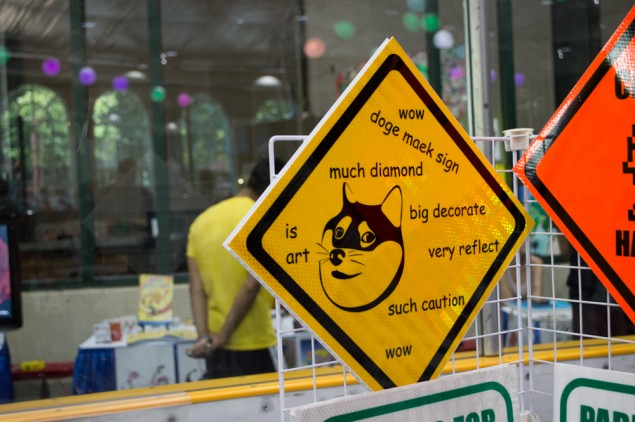 One of the vendors sold custom traffic signs, including this one