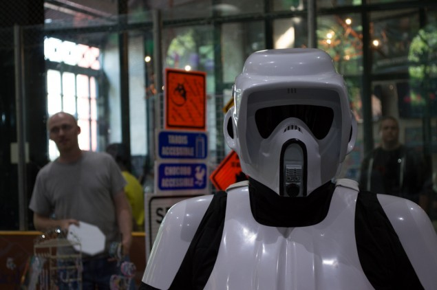These guys had speakers in their helmets to give them the classic lo-fi Stormtrooper voice