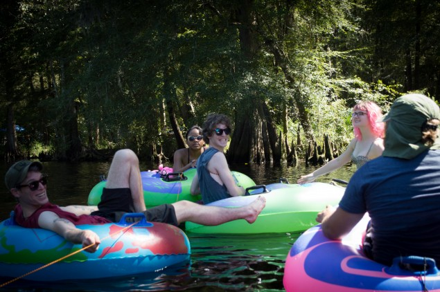 The inner tubes were all tied to the raft!