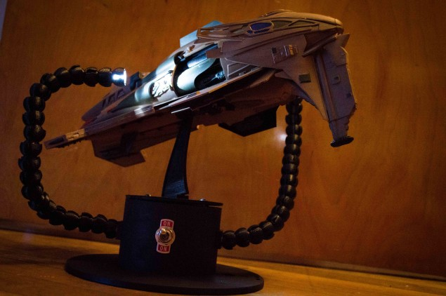 The completed ship, complete with lighted display stand