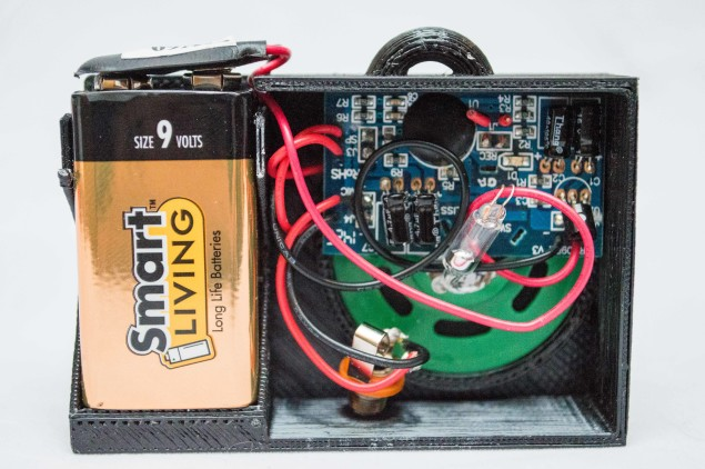 The sound module and battery in the tray