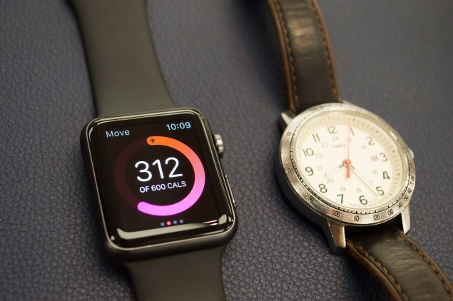 The Weekender Sport has a 39mm case, slightly smaller than the Apple Watch