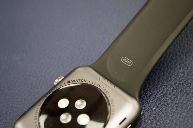 Sensors on back of watch, along with '42MM' designation