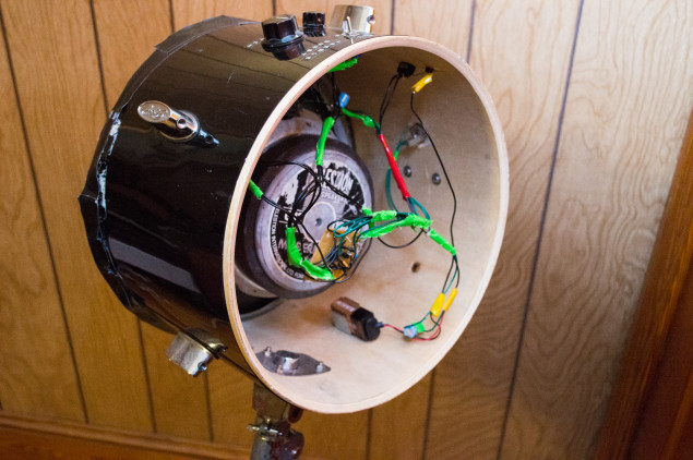 All of the circuitry and the battery are contained inside the drum shell