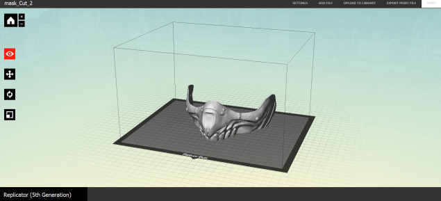 The top half of the mask ready to print