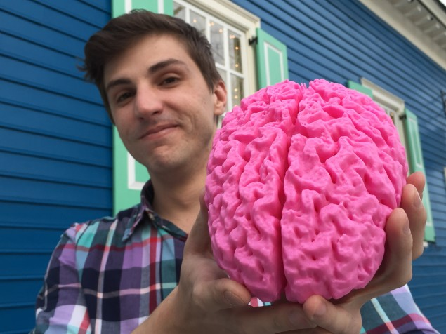 Holding a 3D printed replica of my own brain