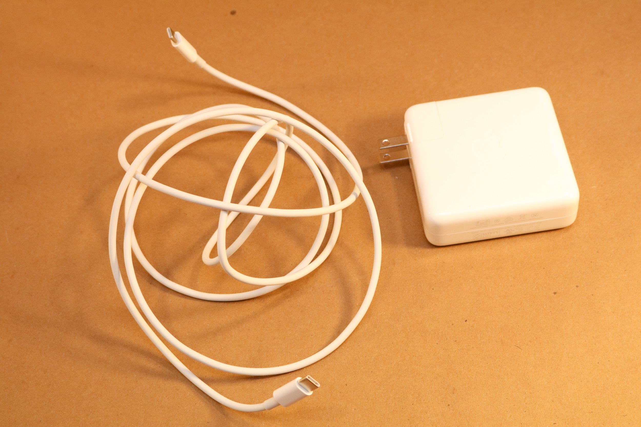 The included USB-C cable and wall charger.